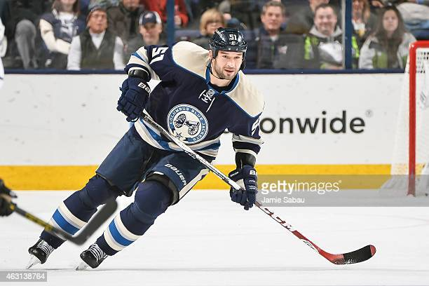 Fedor Tyutin of the Columbus Blue Jackets skates against the Los Angeles Kings on February 9 2015 at Nationwide Arena in Columbus Ohio