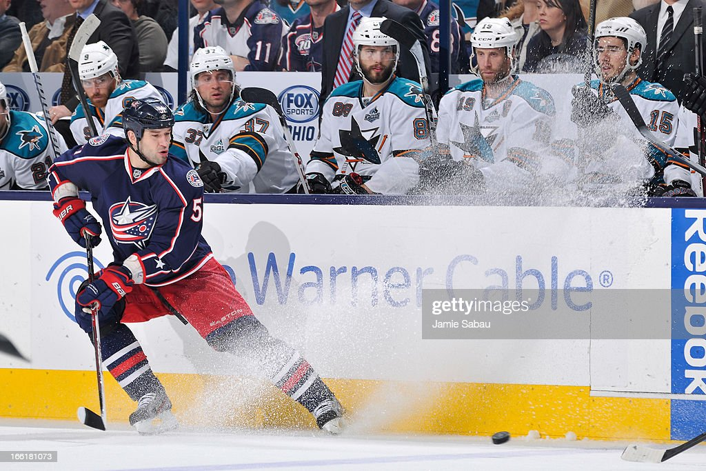 Fedor Tyutin #51 of the Columbus Blue Jackets sprays snow as he stops to possess the puck during the third period on April 9, 2013 at Nationwide Arena in Columbus, Ohio. Columbus defeated San Jose 4-0.