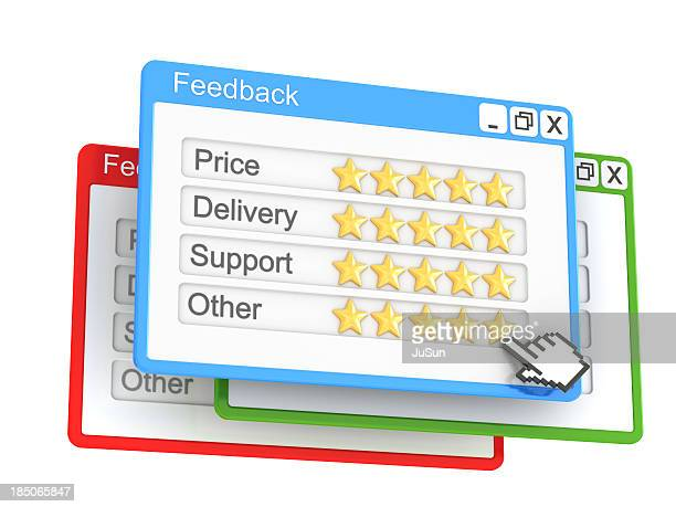 A feedback pop up on the Internet with 5 stars on each point