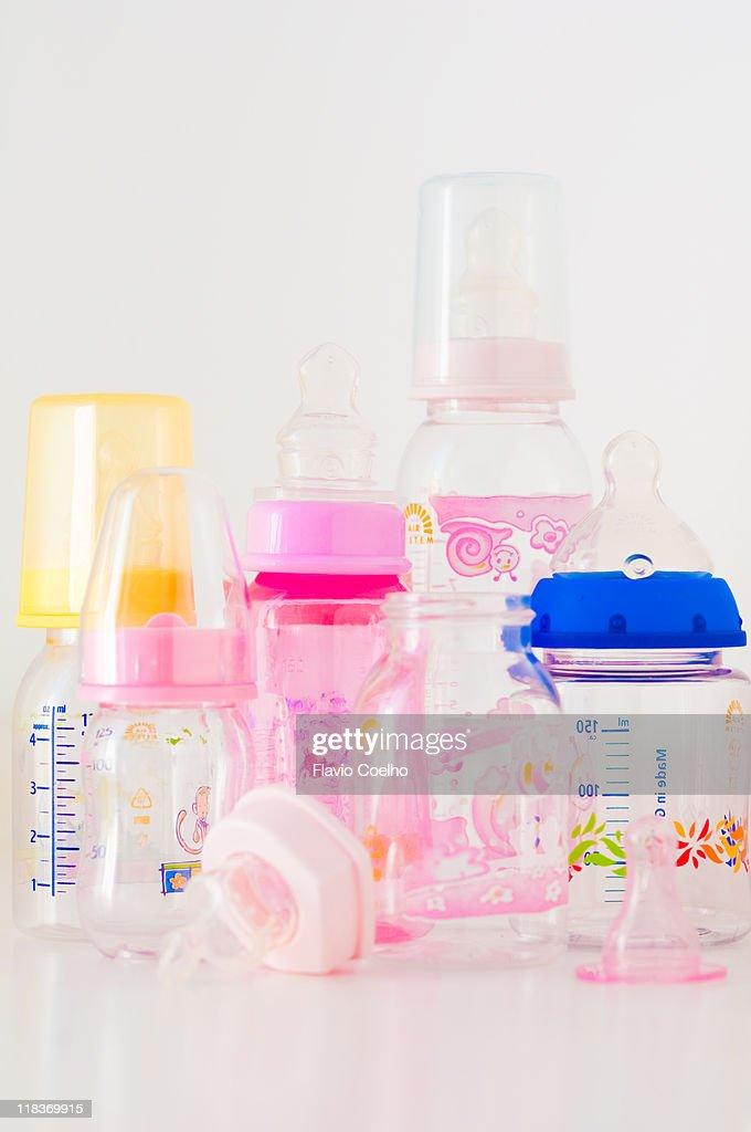 Feeding bottles and nipples : Stock Photo