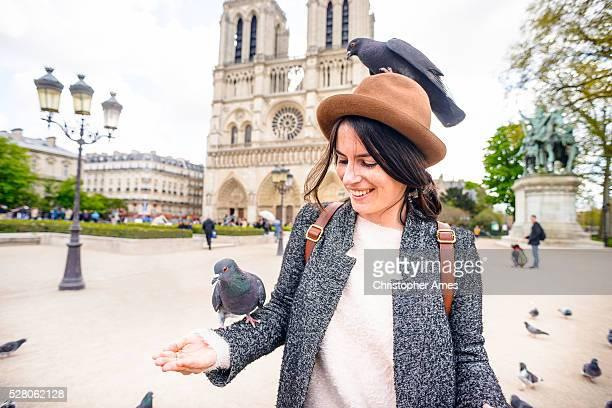 Alimentazione Piccioni presso la Cattedrale di Notre Dame di Parigi, Francia