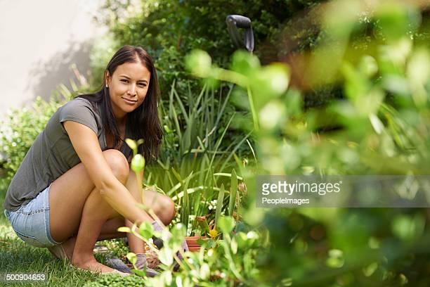 Ich fühle mich in Ruhe im Garten
