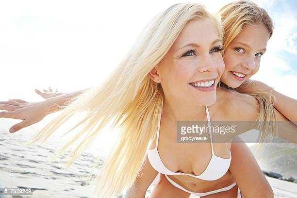 Feeling free at the beach with mom