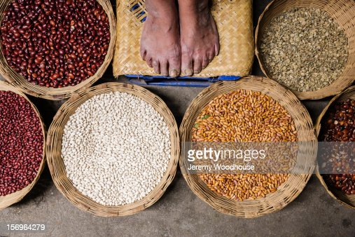 Feet and beans at the Antigua market : Photo
