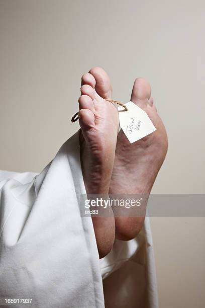 Feet and label of unknown body John Doe in mortuary