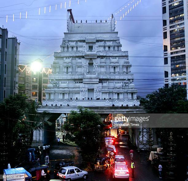 125 feet high replica of Tirupati Balaji temple along with pillars intricat work designed by Nitin Desai at Kandivali Hathway Star Sai Ganesh Pandal...