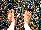 Feet in water by the seaside over pebble beaach