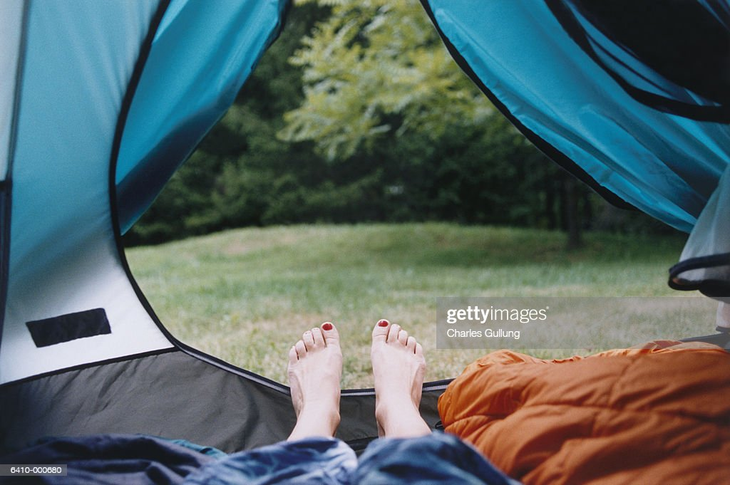 Feet Near Tent Opening : Stock-Foto