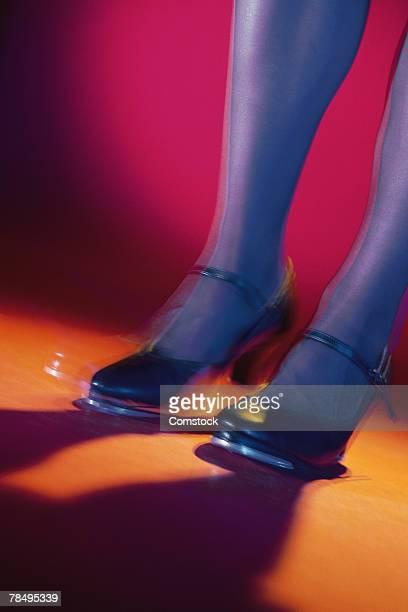 Feet of woman tap dancer