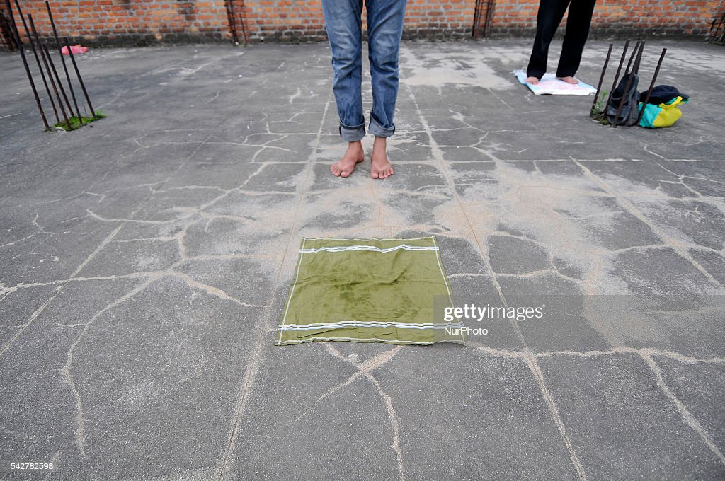 A feet of young Nepalese Muslim during offering ritual prayer at Kashmari Jame mosque on the third Friday of Ramadan (also known as Ramadhan or Ramzan) on June 24, 2016 at Kathmandu, Nepal. Ramadan (also known as Ramadhan or Ramzan) is the ninth month in the Islamic calendar. During the month of Ramadan; Muslims fast from dawn to dusk all over the world. While fasting from dawn until sunset; Muslims avoid from consuming food; drinking liquids; smoking; and engaging in sexual relations.