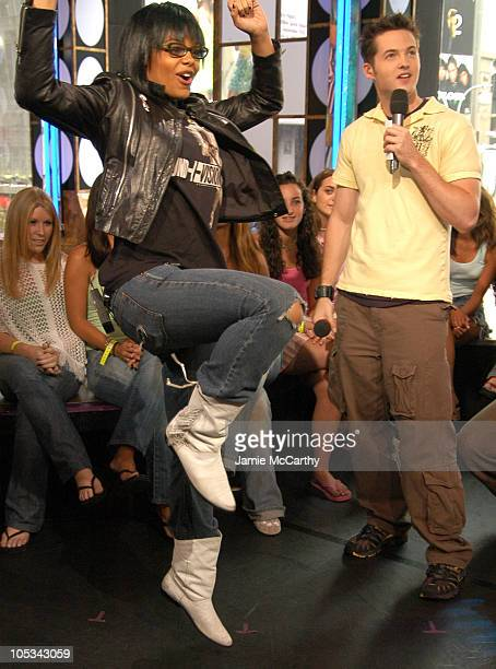 Fefe Dobson and Damien Fahey during Fefe Dobson Visits MTV's 'TRL' August 4 2004 at MTV Studios Times Square in New York City New York United States