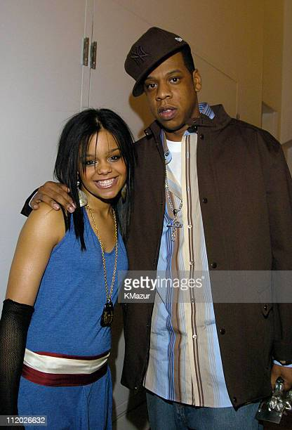 Fefe Dobson and JayZ during 2nd Annual MTV 'TRL' Awards Backstage at MTV Studios Times Square in New York City New York United States