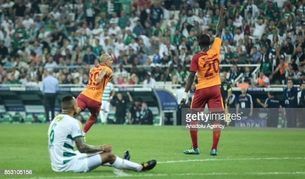 Feghouli of Galatasaray celebrates after scoring the Turkish Super Lig week 6 soccer match between Bursaspor and Galatasaray at Timsah Arena in Bursa...