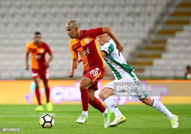 Feghouli of Galatasaray in action during the Turkish Super Lig soccer match between Atiker Konyaspor and Galatasaray at Konya Metropolitan...