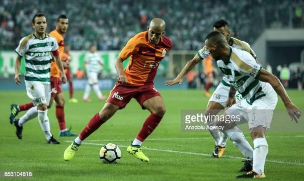 Feghouli of Galatasaray in action during the Turkish Super Lig week 6 soccer match between Bursaspor and Galatasaray at Timsah Arena in Bursa Turkey...