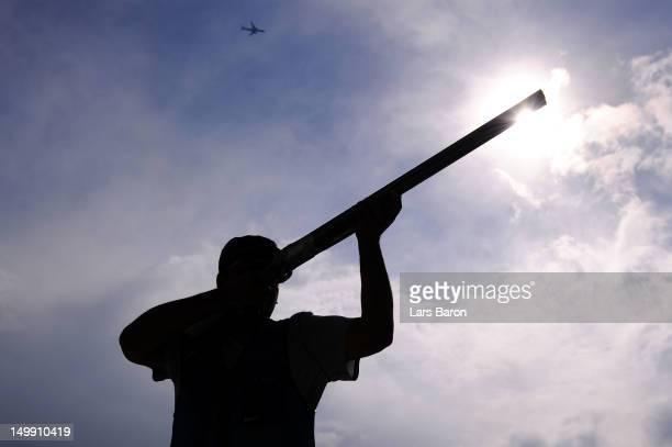 Fehaid Aldeehani of Kuwait competes in the Men's Trap Shooting Final on Day 10 of the London 2012 Olympic Games at the Royal Artillery Barracks on...
