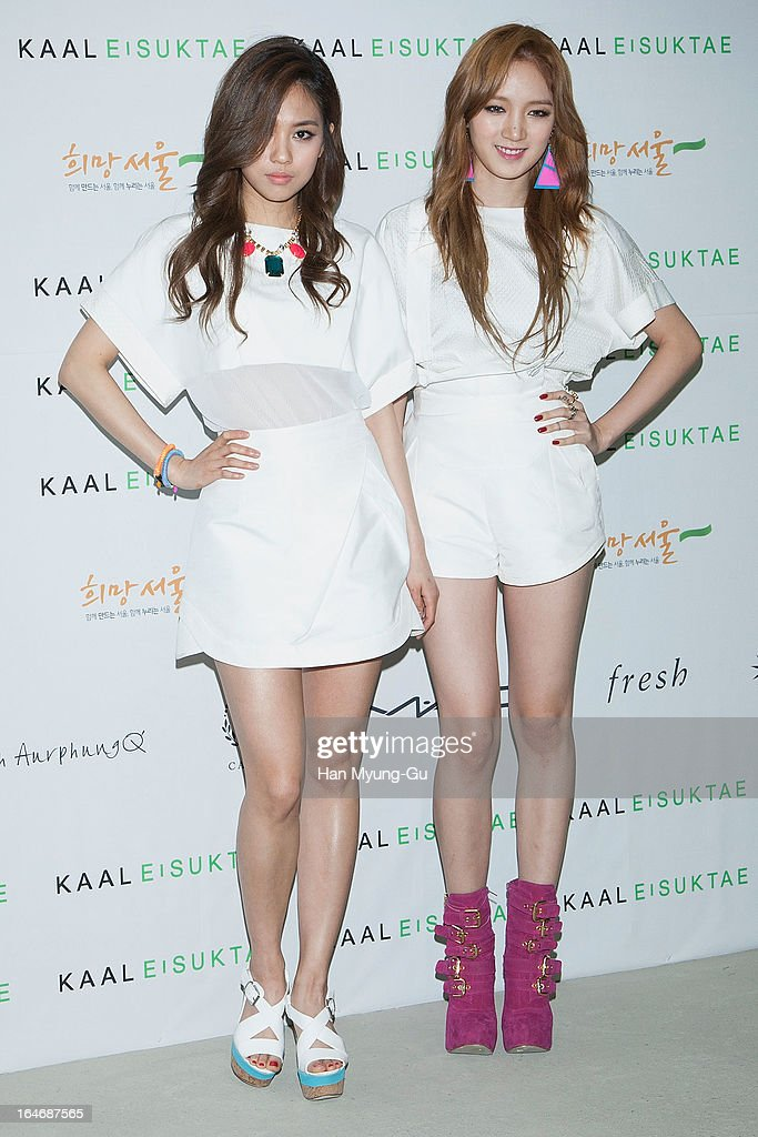 Fei and Jia of South Korean girl group Miss A attend during at the 'KAAL E SUKTAE' show on day two of the Seoul Fashion Week F/W 2013 at IFC Seoul on March 26, 2013 in Seoul, South Korea.