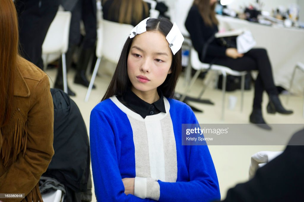 Fei Fei Sun is seen backstage before the Chanel Fall/Winter 2013/14 Ready-to-Wear show as part of Paris Fashion Week at Grand Palais on March 5, 2013 in Paris, France.
