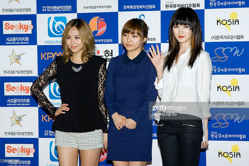 Fei, Min and Jia of South Korean girl group Miss A arrives the launch event of 'Popular Music Promotion Committee' on September 12, 2012 in Seoul, South Korea.