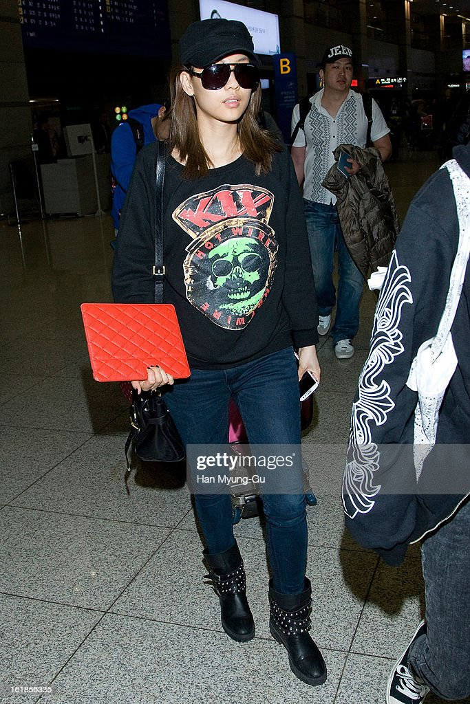 Fei of girl group Miss A is seen at Incheon International Airport on February 17, 2013 in Incheon, South Korea.