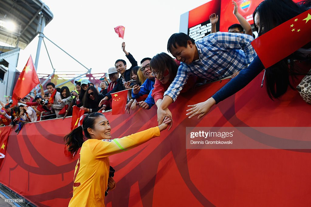 Fei Wang of China PR celebrates with supporters after the FIFA Women's World Cup Canada 2015 Group A match between China PR and New Zealand at...