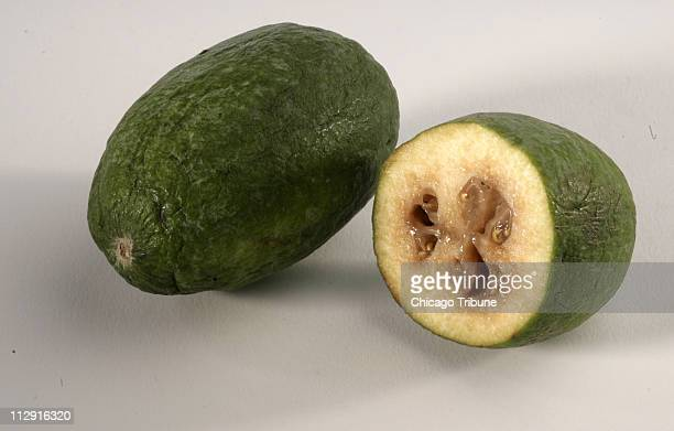 Feijoa looks like a smaller version of a guava thus its other name of pineapple guava