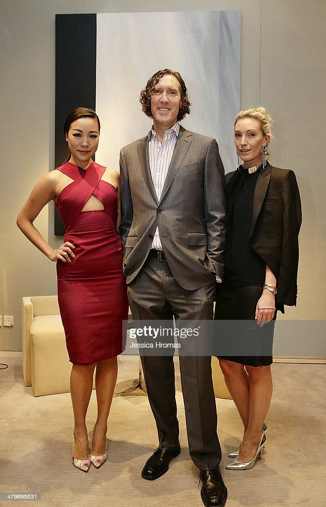 Feiping Chang, Wayne Kulkin, CEO of Stuart Weitzman and Olivia Buckingham attend the pre-cocktail drinks for the opening of Stuart Weitzman Boutique designed by renowned architect Zaha Hadid on March 21, 2014 in Hong Kong.