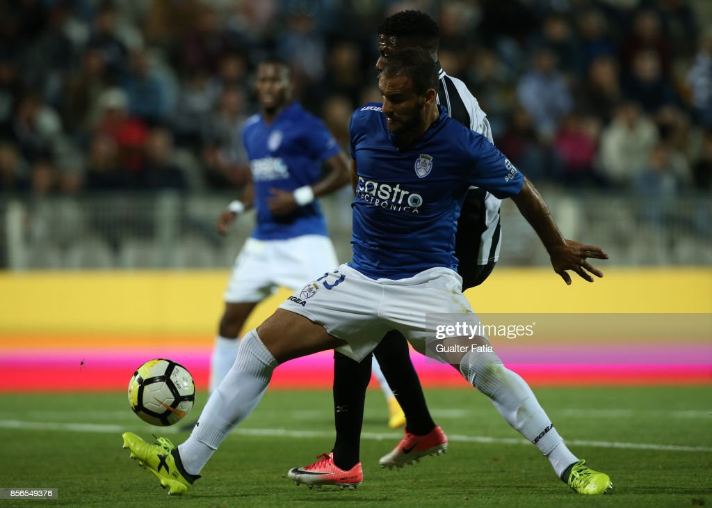 CD Feirense defender Luis Rocha from Portugal with Portimonense SC forward Wilson Manafa from Portugal in action during the Portuguese Primeira Liga match between Portimonense SC and CD Feirense at Estadio Municipal de Portimao on September 18, 2017 in Portimao, Portugal.