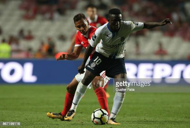 Feirense forward Peter Etebo from Nigeria with SL Benfica midfielder Filipe Augusto from Brazil in action during the Primeira Liga match between SL...
