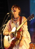 Feist performs during the 2012 Pitchfork Music Festival in Union Park on July 13 2012 in Chicago Illinois