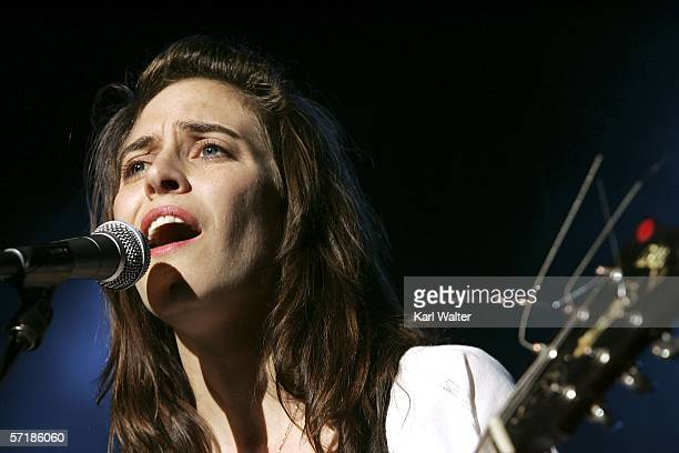 Feist performs during the KCRW Sounds Eclectic Evening at Gibson Amphiteatre at Universal CityWalk on March 25 2006 in Los Angeles California