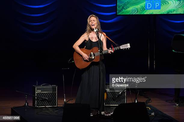 Feist performs on stage during the United Nations 2014 Equator Prize Gala at Avery Fisher Hall Lincoln Center on September 22 2014 in New York City