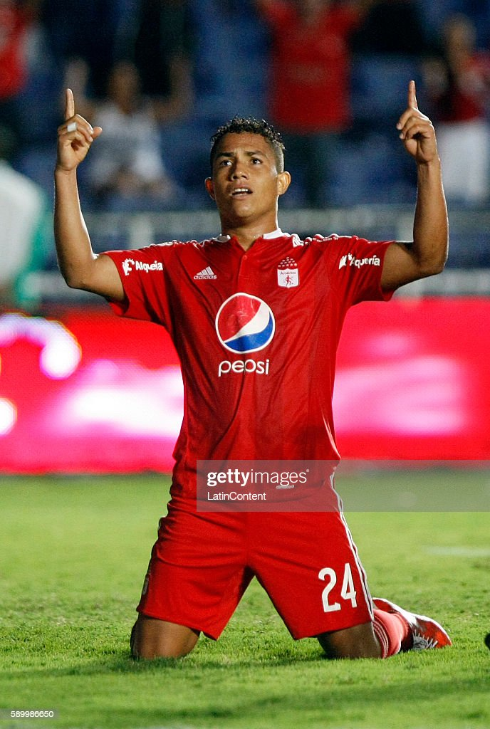 Feiver Mercado of America de Cali celebrates after scoring the third goal of his team during a match between America de Cali and Bogota FC as part of...