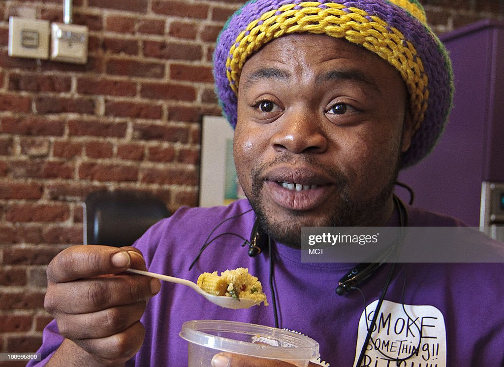 Fela 'Champ' Lewis, of Pensacola, Florida, samples some of the cannabis-infused quinoa that he and other participants cooked up during a cannabis cooking class in Denver on Thursday, April 18, 2013.