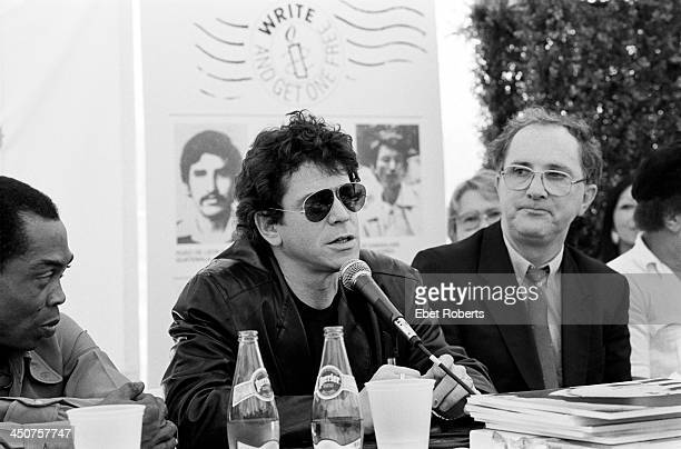 Fela Kuti and Lou Reed with Jack Healy of Amnesty at the press conference for the Amnesty Benefit Concert held at Giants Stadium at the Meadowlands...