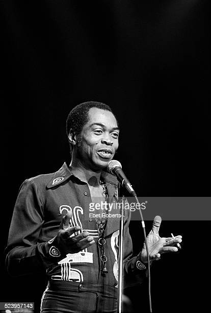 Fela Kuti performing at the Felt Forum in New York City on November 8 1986