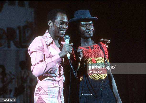 Fela Kuti performs live on stage at Brixton Academy in London on November 13 1983