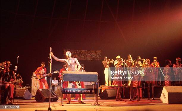 Fela Kuti performs on stage Paris 1981