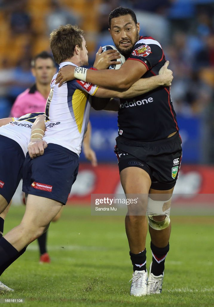 Feleti Mateo of the Warriors in action during the round four NRL match between the New Zealand Warriors and the North Queensland Cowboys at Mt Smart Stadium on April 1, 2013 in Auckland, New Zealand.