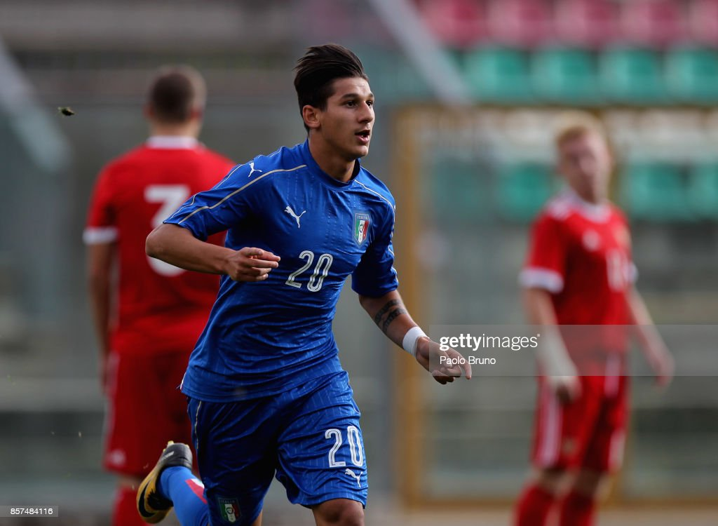 Felice D'Amico of Italy U18 celebrates after scoring the team's second goal during the International Friendly match between Italy U18 and Russia U18 on October 4, 2017 in Castel di Sangro near Isernia, Italy.