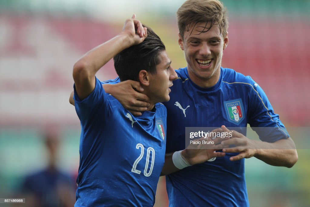 Felice D'Amico #20 with his teammate Gabriele Corbo of Italy U18 celebrates after scoring the team's second goal during the International Friendly match between Italy U18 and Russia U18 on October 4, 2017 in Castel di Sangro near Isernia, Italy.