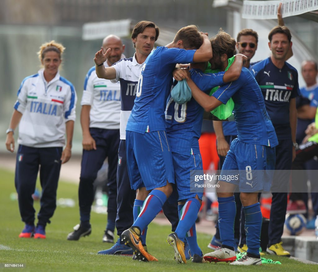 Felice D'Amico #20 with his teammates of Italy U18 celebrates after scoring the team's second goal during the International Friendly match between Italy U18 and Russia U18 on October 4, 2017 in Castel di Sangro near Isernia, Italy.