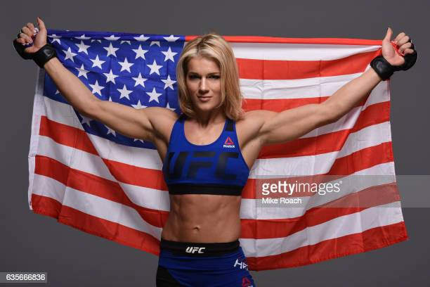 Felice Herrig poses for a portrait during a UFC photo session at the Sheraton North Houston at George Bush Intercontinental on February 1 2017 in...