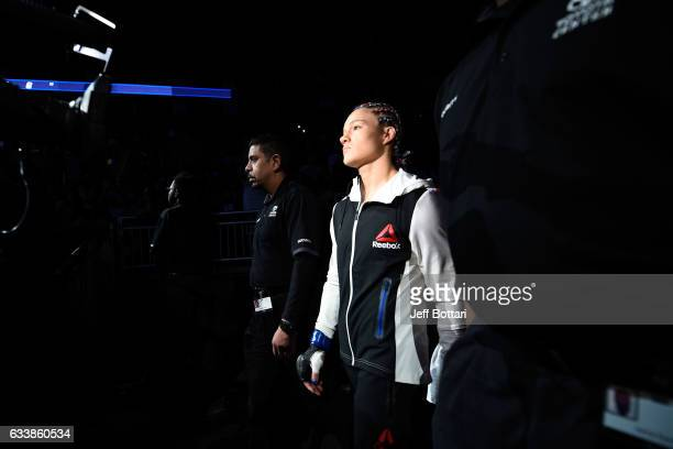 Felice Herrig prepares to enter the Octagon before facing Alexa Grasso of Mexico in their women's strawweight bout during the UFC Fight Night event...