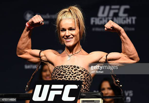 Felice Herrig steps on the scale during the UFC Fight Night weighin event at the Prudential Center on April 17 2015 in Newark New Jersey