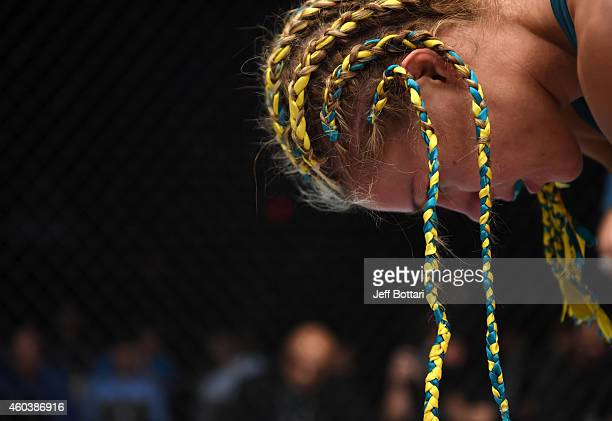 Felice Herrig takes a breath after her submission victory over Lisa Ellis in their strawweight fight during The Ultimate Fighter Finale event inside...