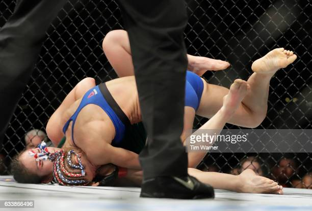 Felice Herrig takes Alexa Grasso of Mexico down in the second round on February 4 2017 in Houston Texas