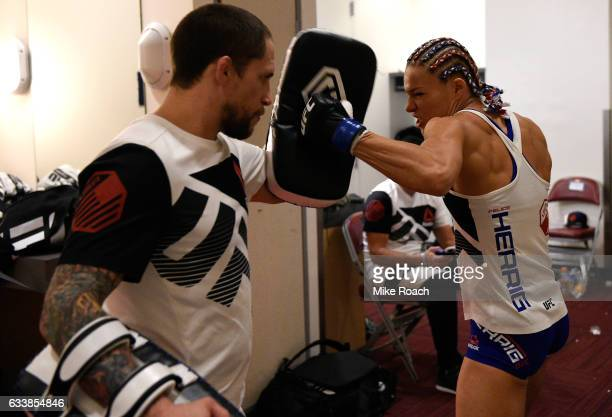 Felice Herrig warms up backstage during the UFC Fight Night event at the Toyota Center on February 4 2017 in Houston Texas