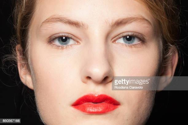 A model make up detail is seen ahead backstage of the Max Mara show during Milan Fashion Week Spring/Summer 2018 on September 21 2017 in Milan Italy
