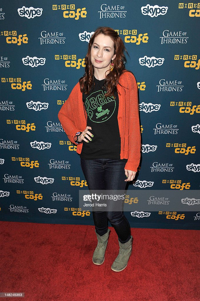 <a gi-track='captionPersonalityLinkClicked' href=/galleries/search?phrase=Felicia+Day&family=editorial&specificpeople=2499112 ng-click='$event.stopPropagation()'>Felicia Day</a> attends WIRED Cafe at Comic-Con held at Palm Terrace at the Omni Hotel on July 12, 2012 in San Diego, California.